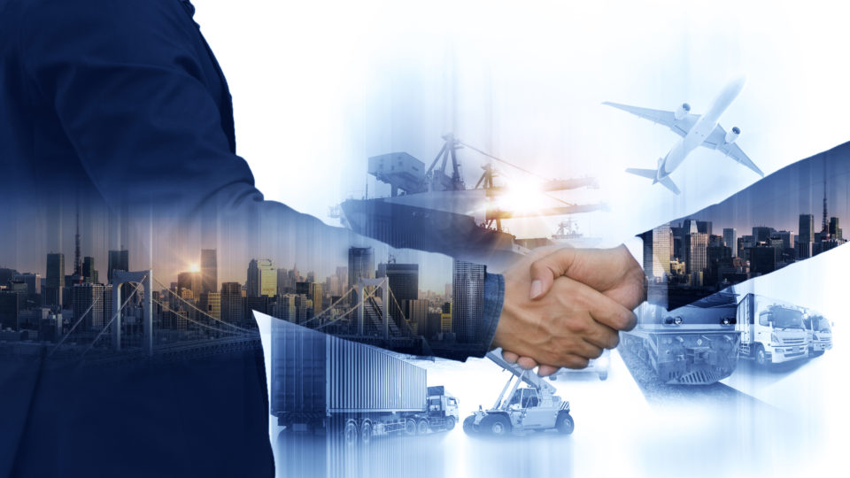 Business people shaking hands, success business of Logistics Industrial Container Cargo freight ship for Concept of fast or instant shipping, Online goods orders worldwide